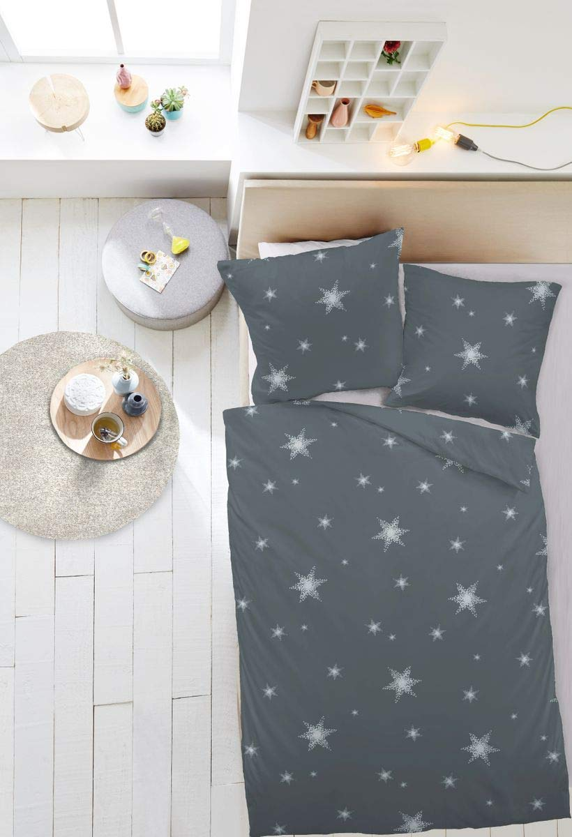 0409be4a352ba4 JACK by Dormisette Fein Biber Bettwäsche Stern Sterne Anthrazit Silber,  Größe:200x220cm Bettwäsche: Amazon.de: Küche & Haushalt