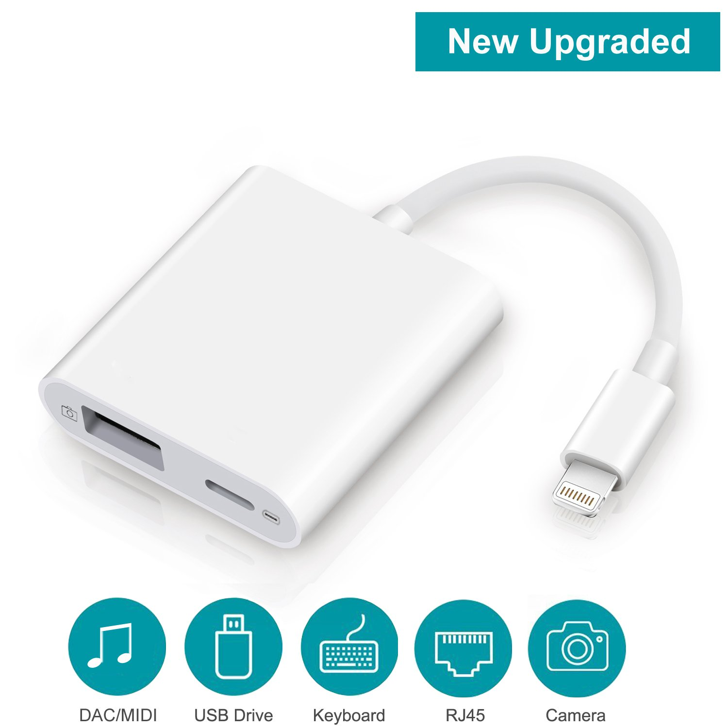 Lightning to USB Camera Adapter, FA-STAR Lightning to USB 3.0 Female OTG Adapter Cable with Charging Interface for iPhone iPad, Supports Connect USB Peripherals within 500mAh of Currents, [Upgraded]