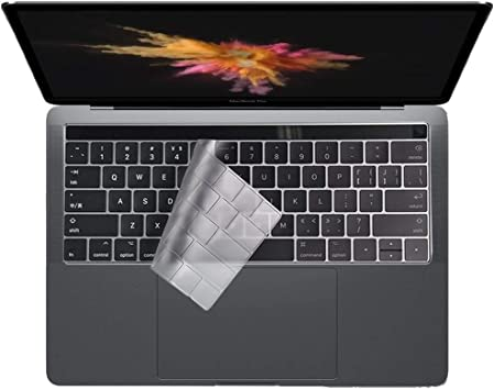 2017 /& 2016 Release Black Ultra Thin Silicone Keyboard Cover Skin Protector Film for MacBook Pro 13 Model A1706 /& MacBook Pro 15 Model A1707 with Touch Bar