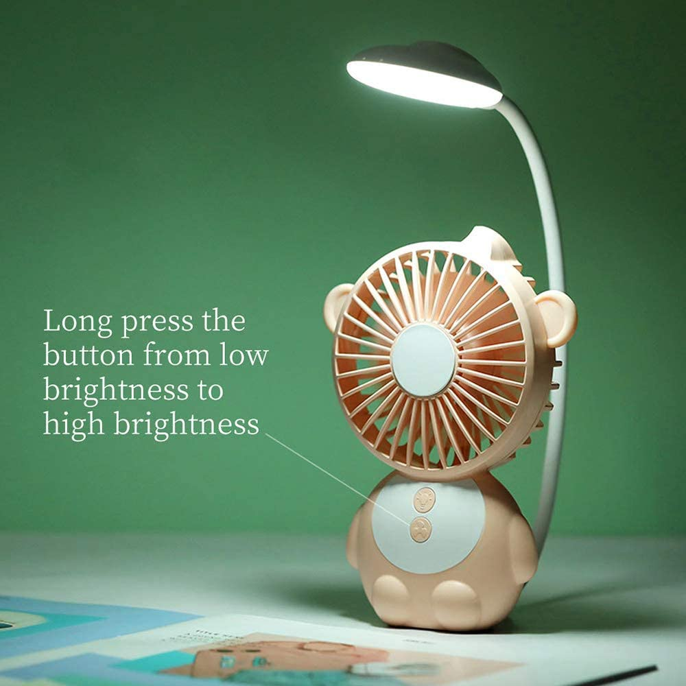 Monkey Elf Table Lamp Small Fan Big Wind Silent Recharge Student USB Mini Desktop Fan,Orange Lrrlpr Desktop Mini Electric Fan