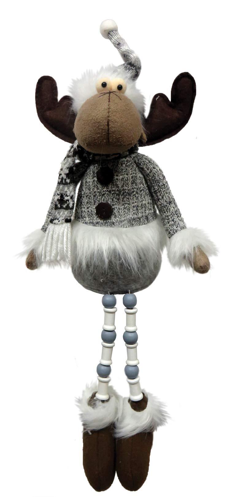 Santa's Workshop Arctic Moose Dangles Plush 16'' Tall Brown/White/Gray