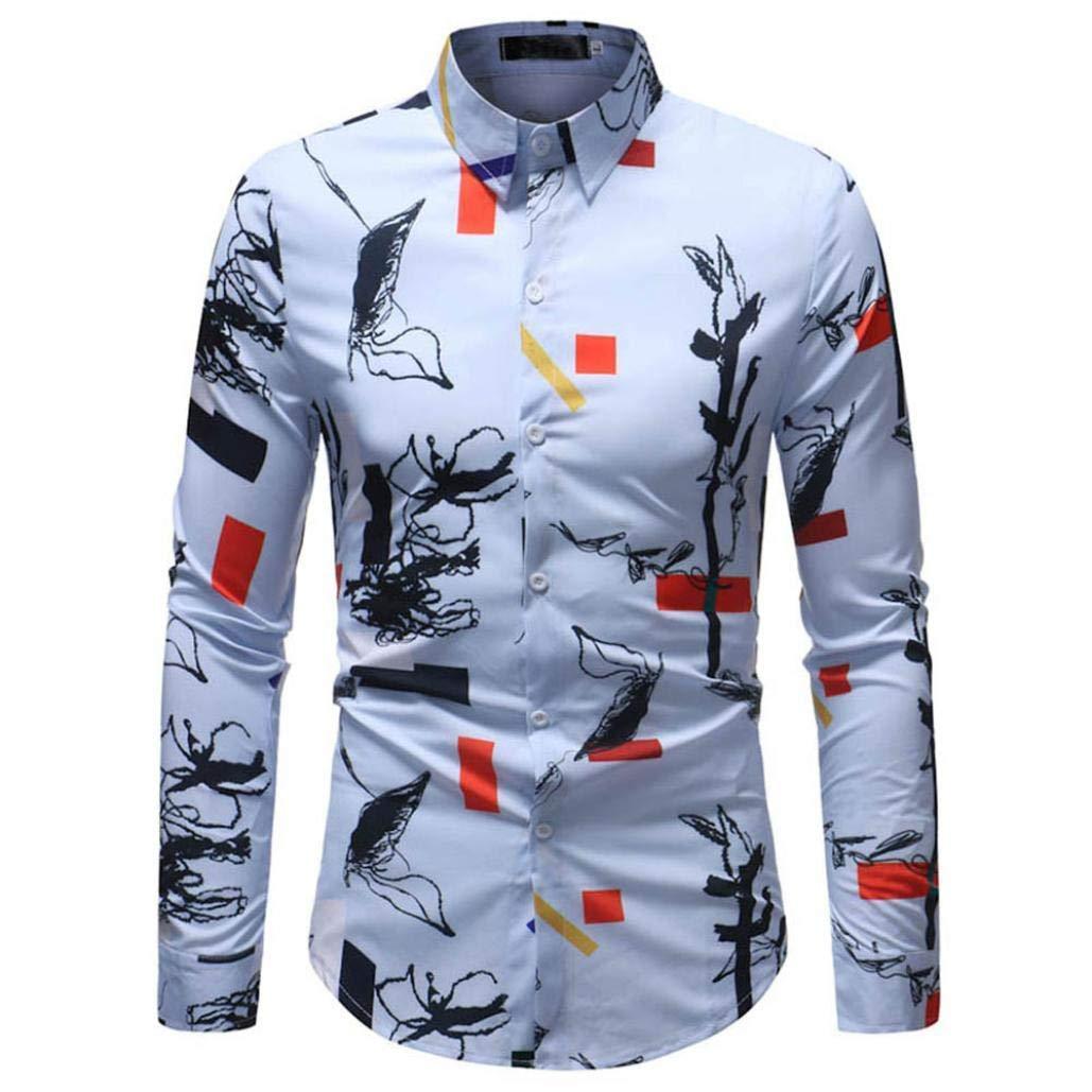 Man Fashion Printed Blouse Casual Long Sleeve Slim Shirt Tops Slim Fit Contrast Long Sleeve Shirt Alabama Kent Collar Blouse