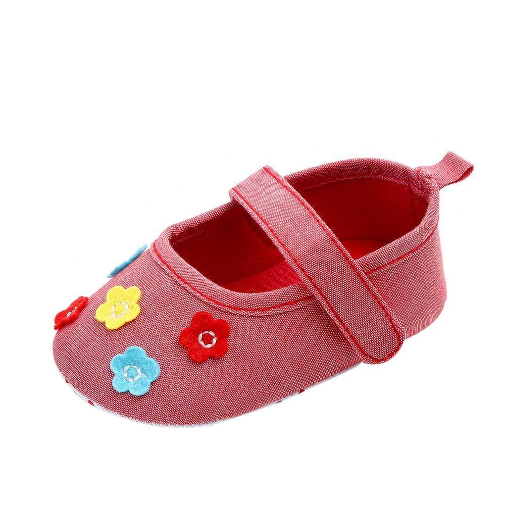 Lanhui Newborn Baby Girls Cute Canvas Flower Single First Walker Soft Sole Shoes