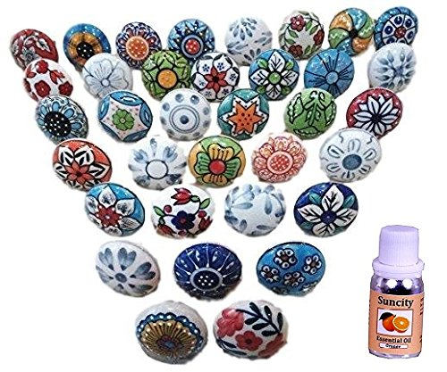 10 Mix Vintage Look Flower Ceramic Knobs Door Handle Cabinet Drawer Cupboard Pull. Free 10 ml Orange essential (Ceramic Door)