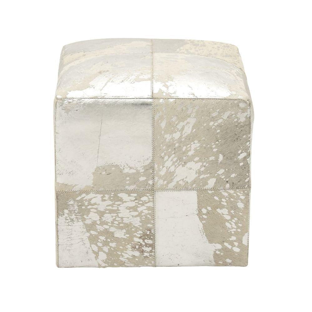 Deco 79 95945 Wood Leather Hide Ottoman, 16'' x 17'', Silver
