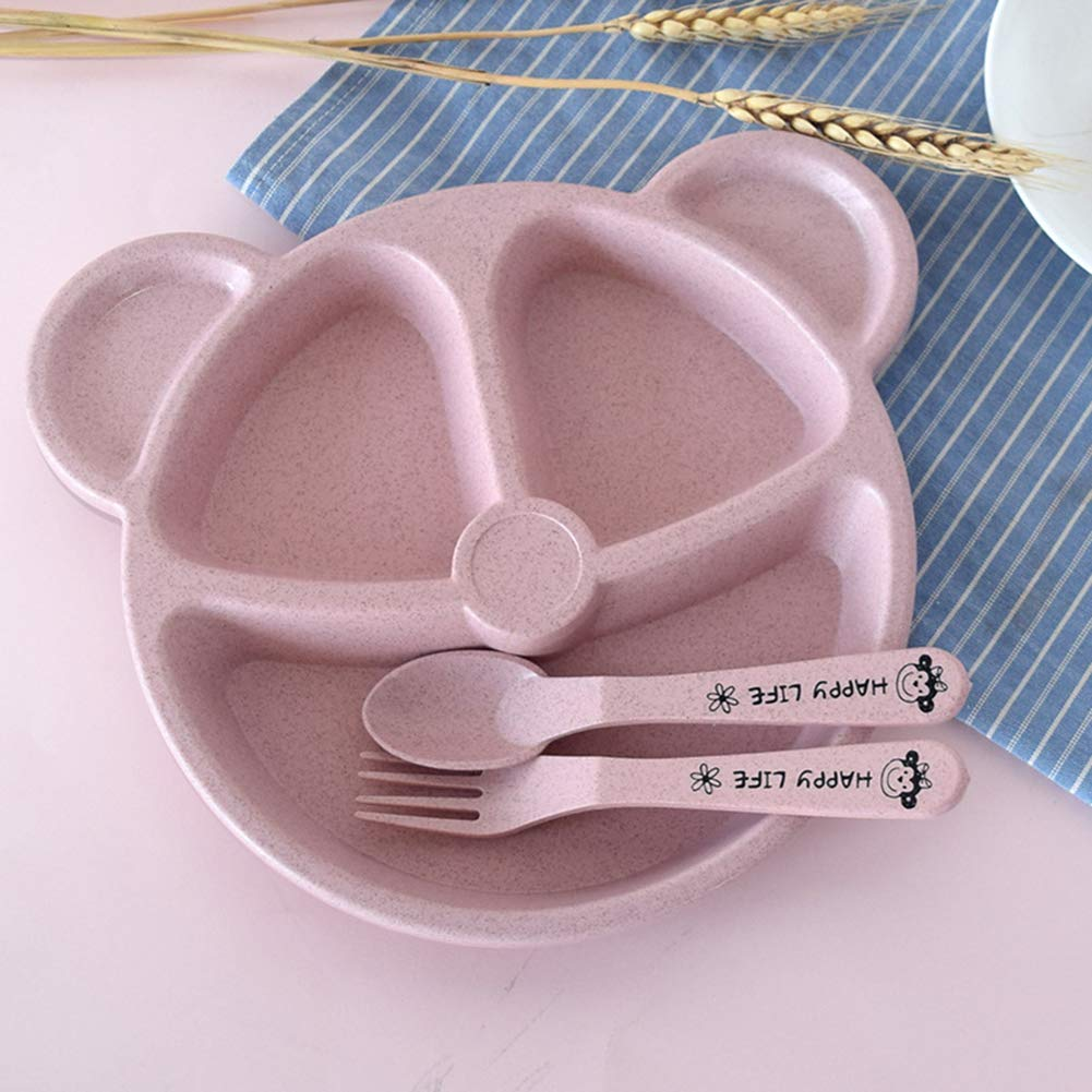 Austinstore Suction Plate for Toddlers Fits Most Highchair Trays BPA Free Divided Baby Feeding Bowls Dishes for Kids Pink