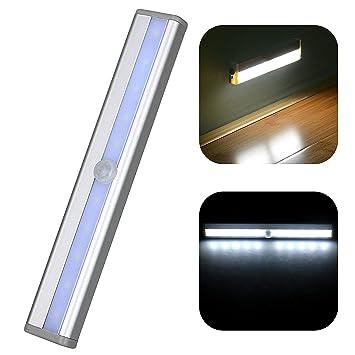 EEEKit Luz con sensor de movimiento, Luces Nocturnas 10 LED Pegar PIR Sensor activado por