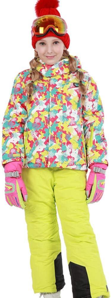 スキーウェア 女の子暖かい防風防水スノーシューズフード付きスキージャケットパンツ2個セット 耐性ジャケット (色 : 黄+黄, サイズ : 122/128)