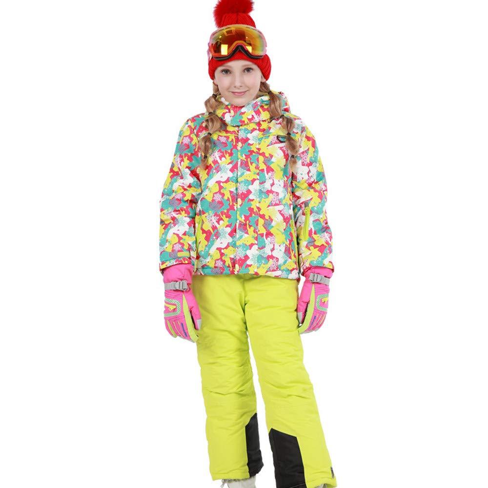 スキーウェア 女の子暖かい防風防水スノーシューズフード付きスキージャケットパンツ2個セット 耐性ジャケット (色 : 黄+黄, サイズ : 134/140)