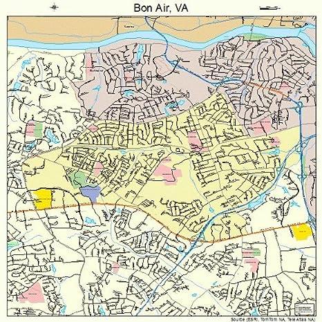 Amazon.com: Large Street & Road Map of Bon Air, Virginia VA ...