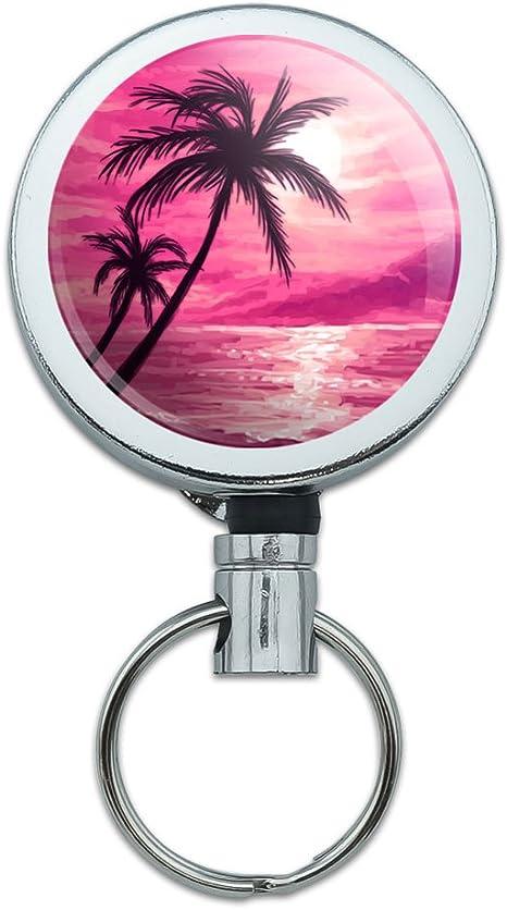Lanyard Retractable Reel Badge ID Card Holder Sunset Beach Sea Ocean Wave