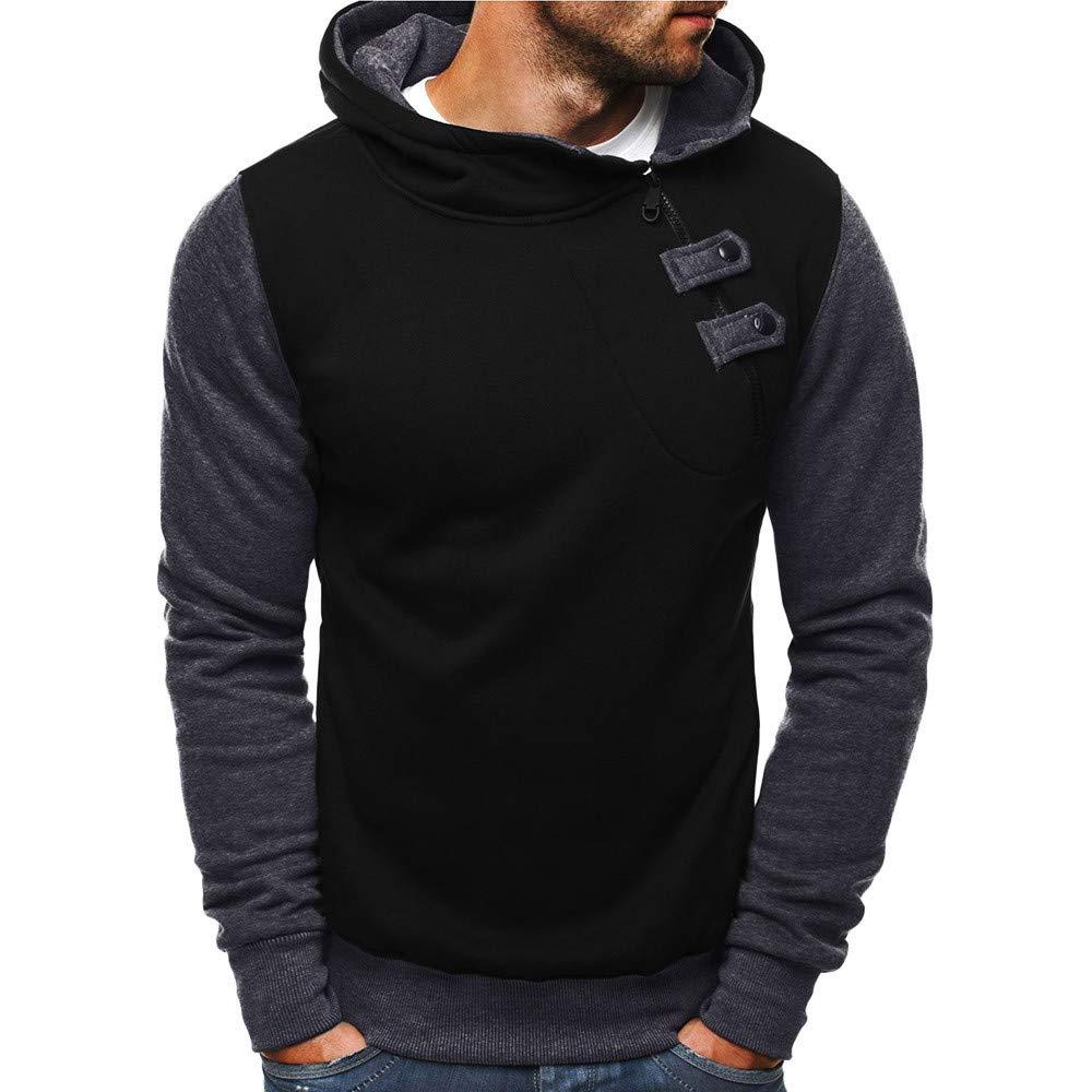 BaZhaHei Men's Casual Jacket Autumn Zipper Coat Buttons Hooded Sweatshirt Mens Outwear Tops Blouse Solid Overcoat Patchwork Hoodies Fashion Warm Coat