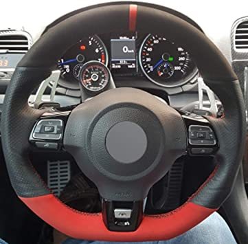 FANGPAN Cubierta del Volante de Cuero, para Volkswagen Golf 6 GTI ...