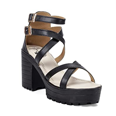 03f993ba3b65 meriggiare Women Black Block Heel Closed Back High Ankle Strap Party PU  Sandals  Buy Online at Low Prices in India - Amazon.in