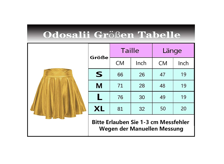 Odosalii Damen Stretch Skater R/öcke Informell Mini Glocken Rock Hohe Taille Metallischer Faltenrock