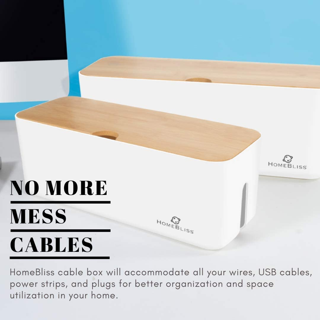 Chargers Surge Protectors HomeBliss Cable Management Box with Bamboo Lid Small /& Large Cord Organizer Box for Power Strips Adapters Wires Hider for Home TVs Office Computers Desk USB Hub White