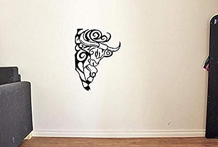 Tribal Tattoo Bull Head Vinyl Wall Decals Animals Taurus Decor Sticker Murals HDS3316
