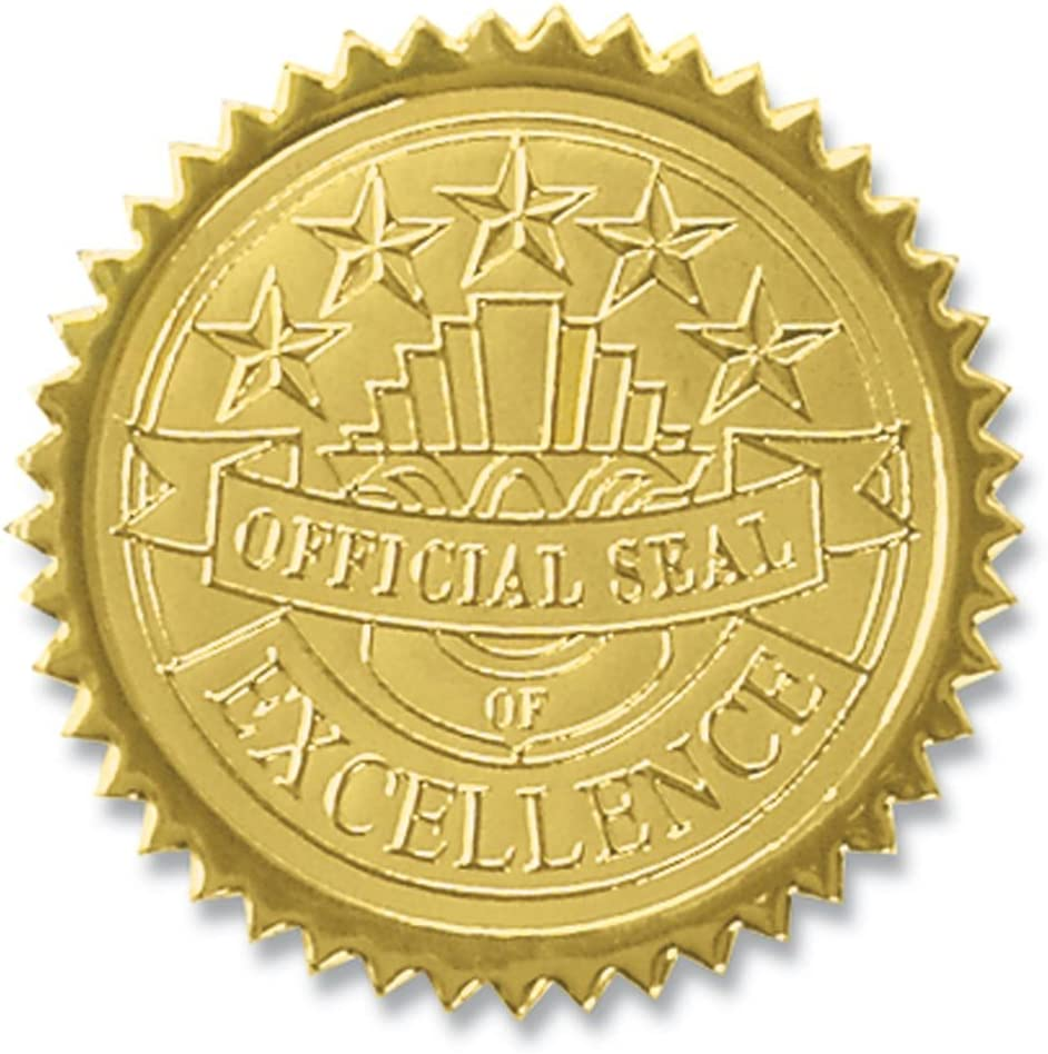 PaperDirect Official Seal of Excellence Embossed Gold Certificate Seals, 102 Pack