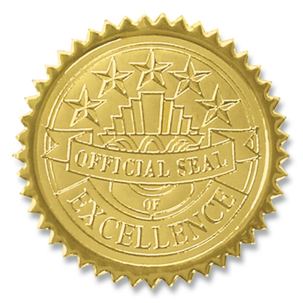 Official Seal of Excellence Embossed Gold Foil Certificate Seals, 2 Inch, Self Adhesive, 102 Count