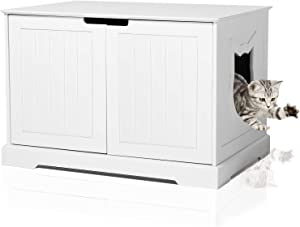 BANIROMAY Large Cat Washroom Storage Bench, Cats Litter Box Enclosure Furniture House and Nightstand Side Table, Spacious Cat Storage Cabinet