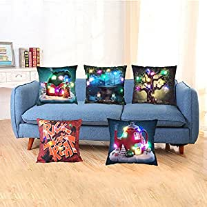 "Christmas LED Pillow Covers Decorative 18""x18"" Throw Pillow Cases Soft Cartoon Halloween Xmas Decorations Cushion Covers Home Sofa Bedroom Pillow Covers Merry Christmas Gifts Decor (5 Pack)"