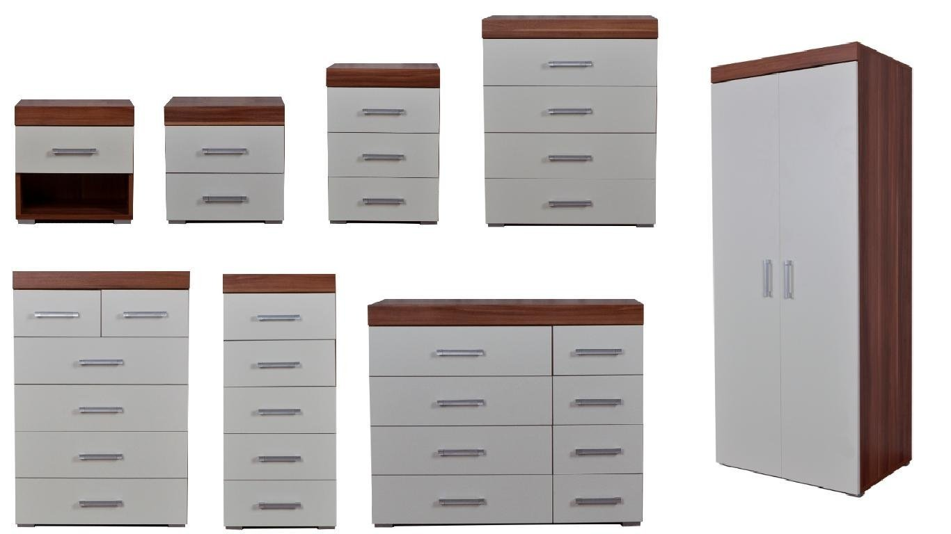 DP Bedroom Furniture Range Wardrobe Chest Bedside White & Walnut (1 Drawer Bedside Cabinet)
