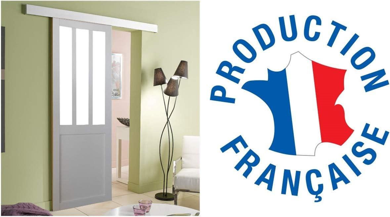 Puerta estilo ATELIER blanco 204 x 93 con riel de cristal 4 mm: Amazon.es: Bricolaje y herramientas
