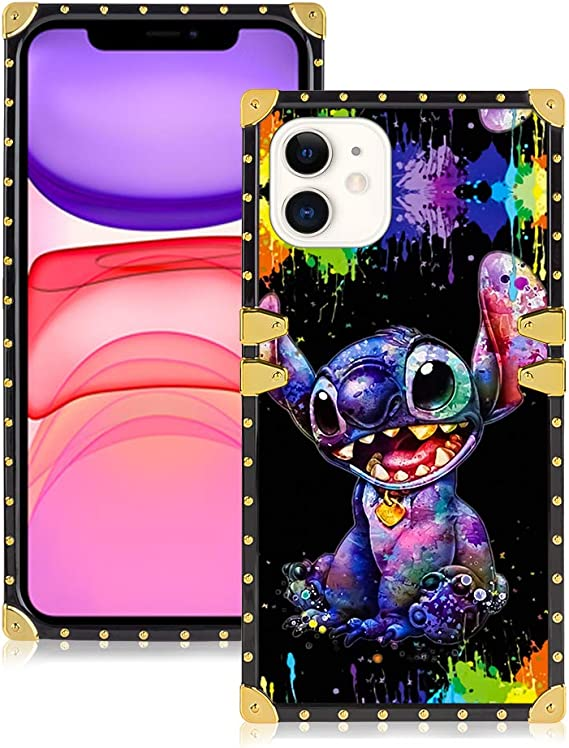 Amazon Com Disney Collection Square Case For Iphone 11 6 1 Inch Cute Stitch Pattern Style Soft Tpu Protective Case Luxury Glitter Decoration Cover For Iphone 11 Electronics