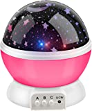 BestFire Novelty 360 Rotating Round Night Light Projector Lamp (Star Moon Sky Projector ,3 Model Light, USB Battery Powered) Romantic Home Decoration Lamp Great Gift for Children (Pink)