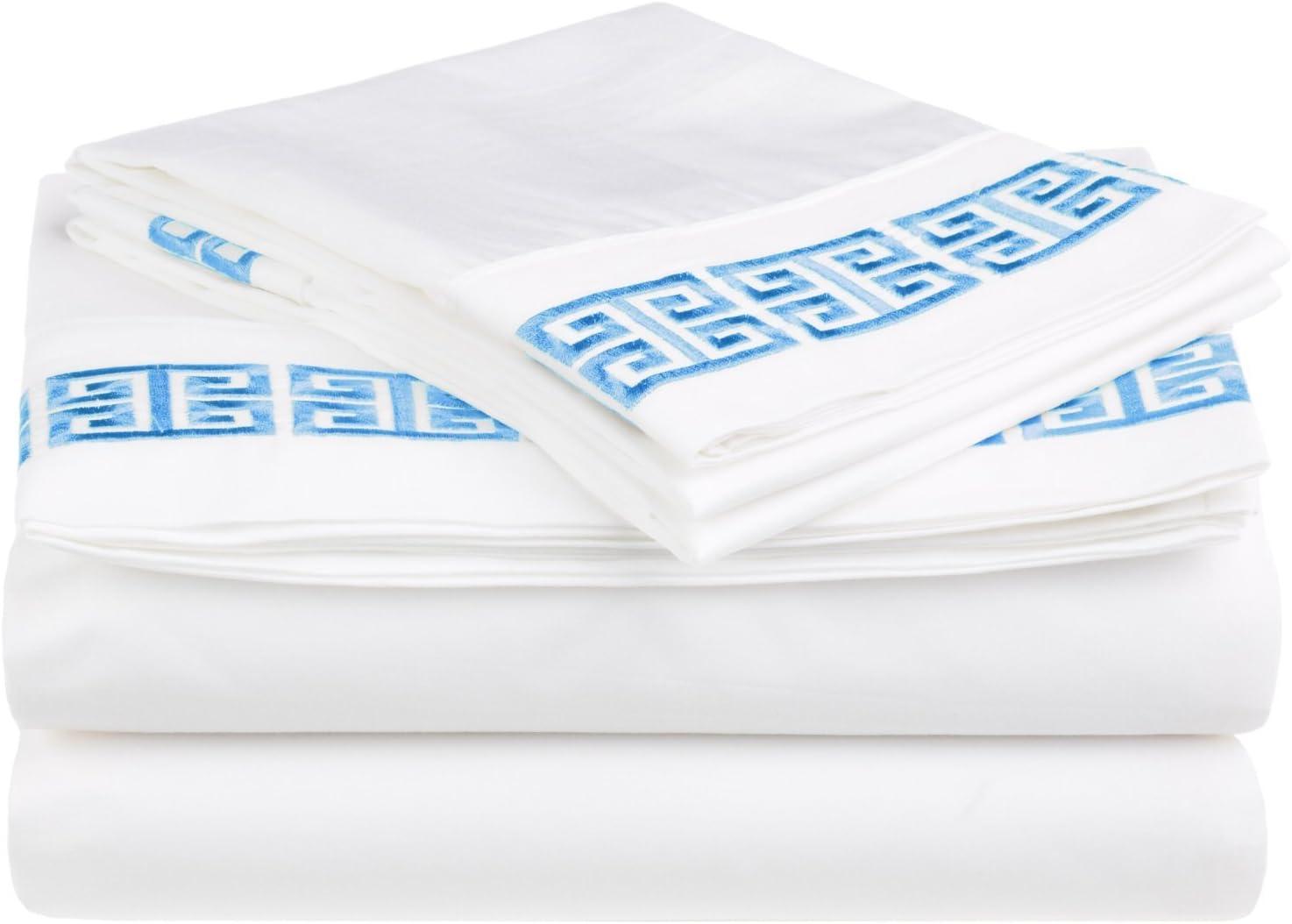 Impressions Superior - Juego de sábanas Kendell 96 x 203 cm, 100% algodón, con Bordado Greco, Color Blanco/Azul Claro, 3 Piezas