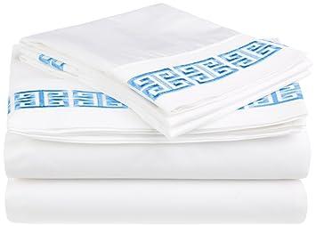 Impressions Superior - Juego de sábanas Kendell 96 x 203 cm, 100% algodón, con Bordado Greco, Color Blanco/Azul Claro, 3 Piezas: Amazon.es: Hogar