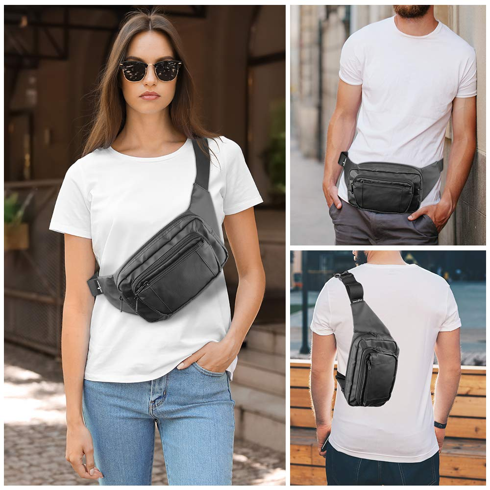 Hip Bum Bag Waist Pack Anti-Theft with RFID Blocking Black Fanny Pack for Travel Walking Hiking Cycling Fanny Pack for Women /& Men
