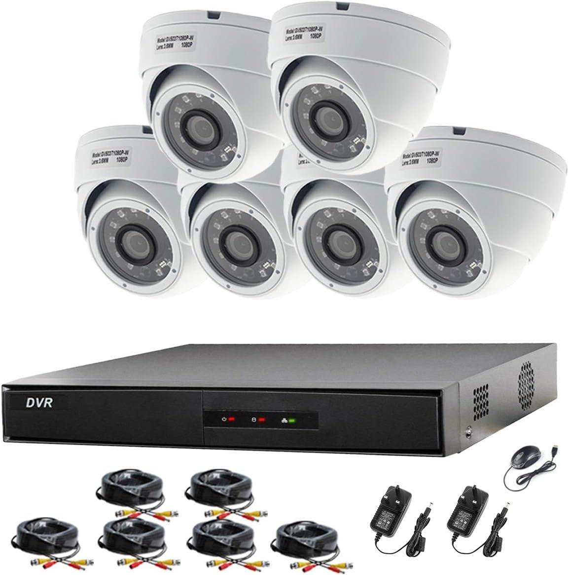 Hikvision CCTV Kit DVR 8canales 1080P & 6x Sony 2,4MP CMOS TVI 1080P Full HD gris dome CCTV cámaras IR 20m visión nocturna a distancia vista fácil P2P sistema de cámara de seguridad