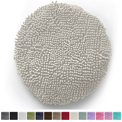 l Shag Chenille Toilet Lid Cover, Ultra-Soft Plus Fabric, Machine-Washable, Large Size 19.5 inches x 18.5 inches, Fits Most Size Toilet Lids, Perfect The Bathroom (Ivory Cream) (Chenille Ivory Fabric)