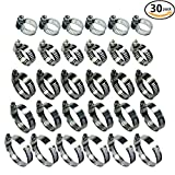 Adjustable Stainless Steel Worm Gear Hose Clamps Water Pipe Clamps Assortment Kit 30 Piece
