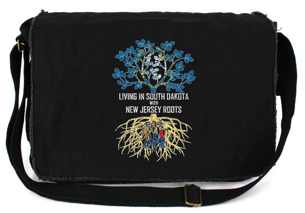 Tenacitee Living In South Dakota with New Jersey Roots Grey Brushed Canvas Messenger Bag