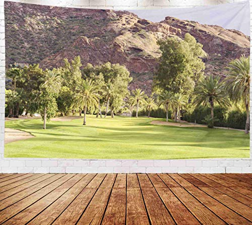 Fullentiart Wall Tapestry, Map Large Tapestry Wall Hanging 80x60inch Golf Course Fairway in Beautiful Golden Hour Light Mountain Background Camelback Decoration Room Holiday Décor Tapestries -