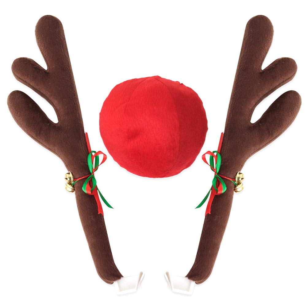 howardee Reindeer Antlers Jingle Bells Costume Rudolph Car Christmas Ornament Decor with Nose