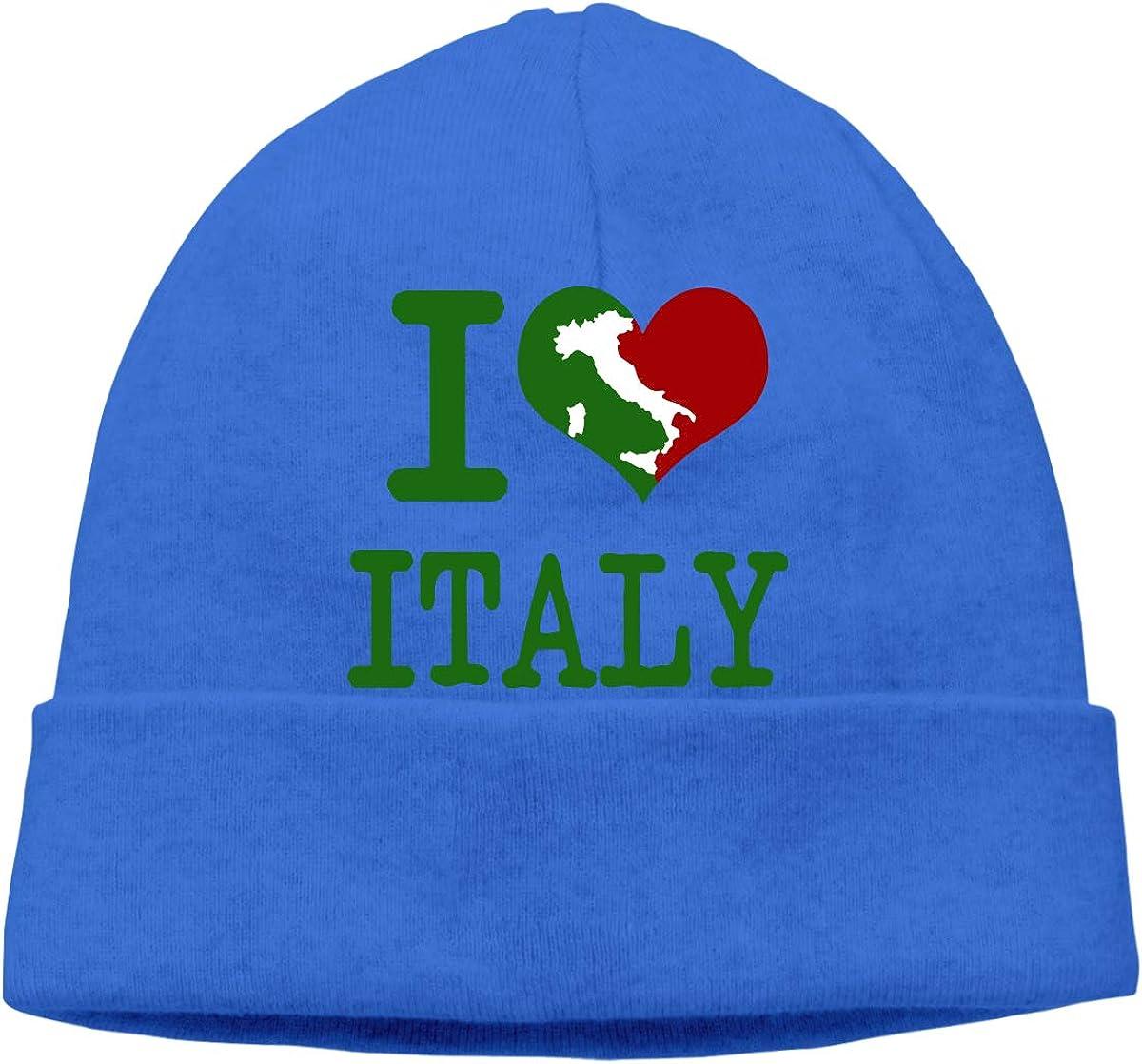 Unisex I Love Italy Outdoor Wool Beanies Hat Soft Winter Skull Caps