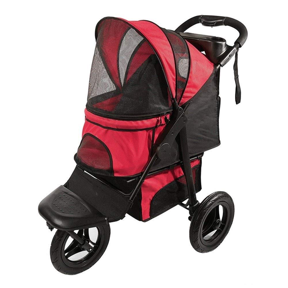 Red Dog Pushchair, Stroller Pram Carrier Pet Roadster Foldable 3 Wheels Travel Cat Jogger Outdoor Cart for Medium Dogs (color   Red)