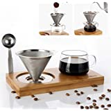 Pour Over Coffee Maker Set Include Stainless Steel Paperless Filter, 8 Ounce Glass Cup, Spoon, Bamboo Stand, Reusable Single Serve Coffee Maker for Home Office - Gift-ready Package