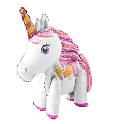 Self Stand steadily Unicorn Birthday Party Decorations Supplies Wedding Engagement Children's Day Foil Unicorn Horse Animal Balloons Toy (White): Health & Personal Care