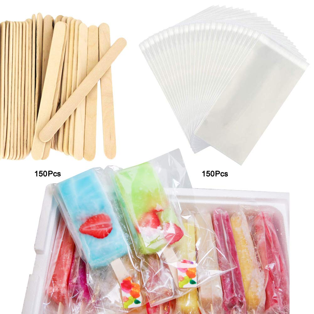 Wellood Popsicle Sticks and Bags 150 Pcs Popsicle Sticks and 150 Pcs Bags(Vacuum Packing)