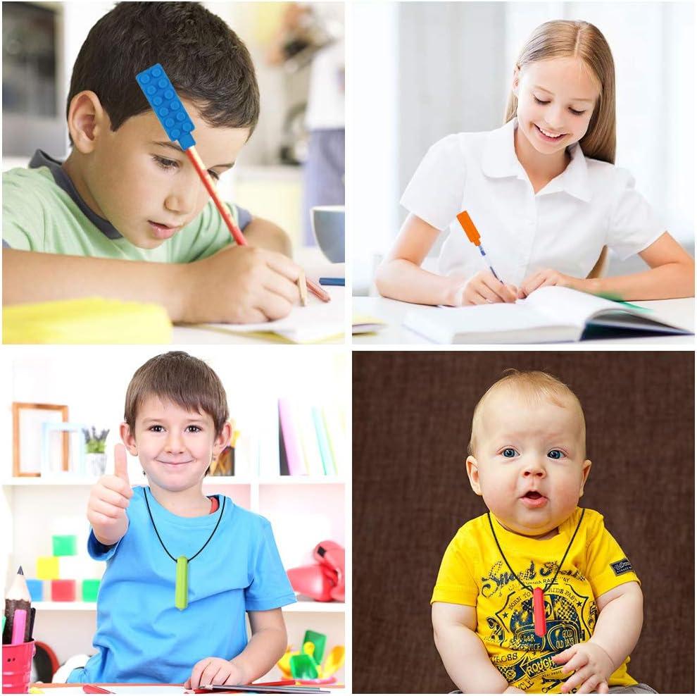 Anxi/ét/é Dsaren 6 Pi/èces Collier /à M/âcher Silicone Embouts de Crayon Collier de Dentition Jouet Sensoriel pour Autistes ADHD Enfants et B/éb/és