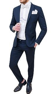 Abito completo uomo Trade Sartoriale blu scuro elegante made in Italy con  papillon e pochette 402390237de