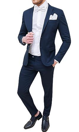 8f1f1f97b9811 Abito completo uomo Trade Sartoriale blu scuro elegante made in Italy con  papillon e pochette (