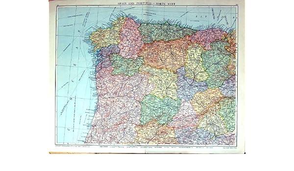 Impresión Antigua del Mapa Raro Grande España Del Noroeste ...