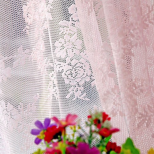 (YRD TECH Sheer Curtain Tulle Window Treatment Voile Drape Valance 1 Panel Fabric (Pink))