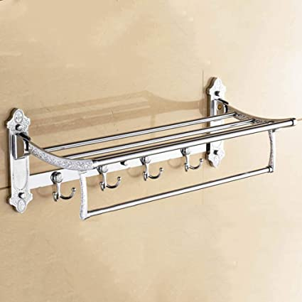 Ludage Toallero de Calidad Acero Inoxidable Plegable Enganche Pared portatoallas de baño Doble Gruesa Base Rack