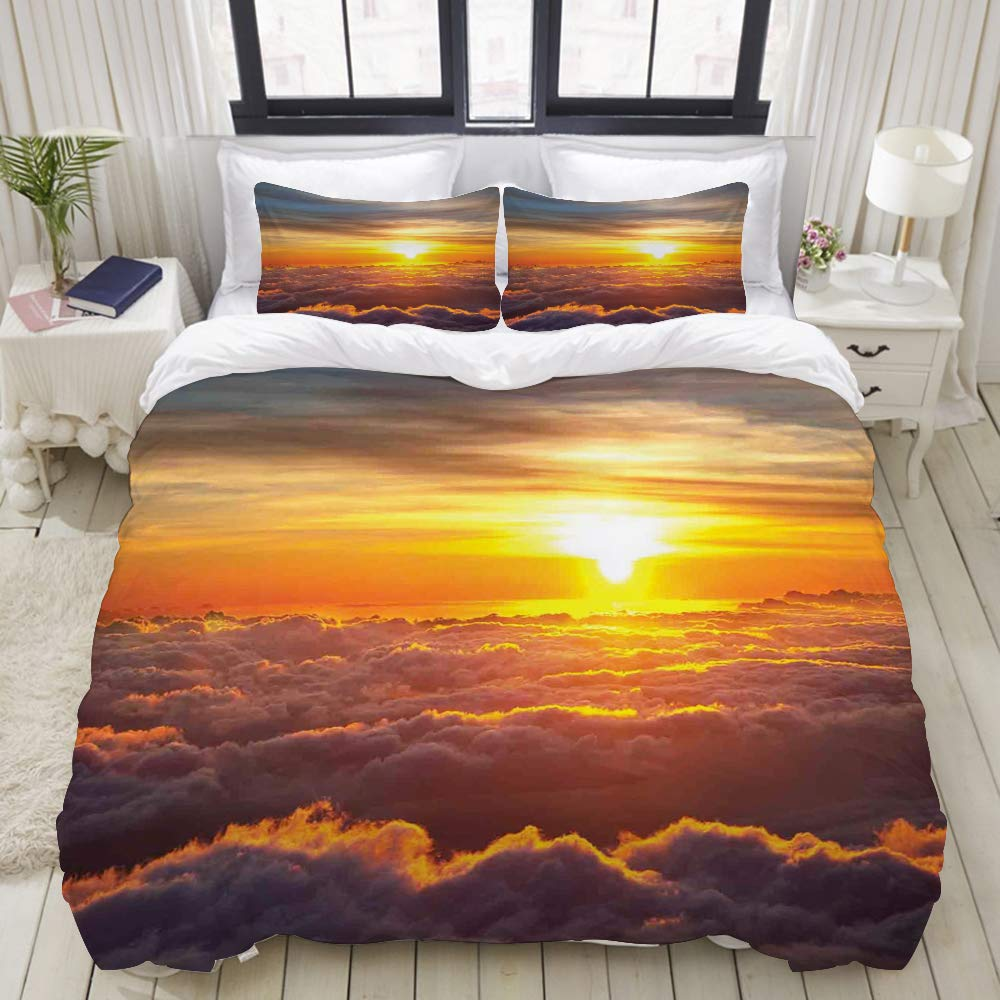VANKINE 3PC Bedding Set Nature Sunset Scene on Clouds Print 1 Duvet Cover with 2 Matching Pillowcases Dorm Room Decor Twin/Twin XL